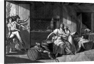 Act of heroic courage of a woman facing Vendean robbers 1793 by J.F. Cazenave