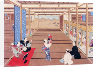 Actor with puppets performing to women by Torii Kiyonaga