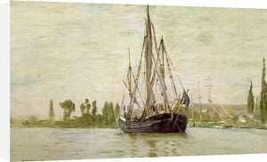 Coasting vessel at anchor near Rouen, France, 1871 by Claude Monet