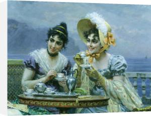 Gallant conversation, 1894 (Detail) by Bartolomeo Giuliano