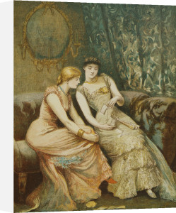 Conversation about the Dance Card, preparations for a ball, 1882 by Carl Hermann Kuechler