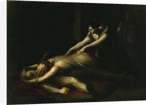 Kriemhild throws herself on Siegfried's corpse by Henry Fuseli