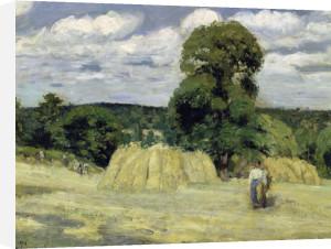 Grain harvest in Montfoucault by Camille Pissarro