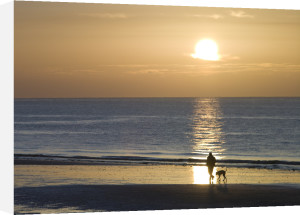 Man walking his dog on the beach at sunrise, Littlehampton England by Assaf Frank
