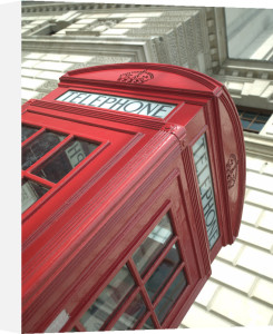 Red british telephone box close-up by Assaf Frank
