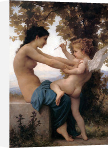 Girl Defending Herself Against Love by Adolphe William Bouguereau