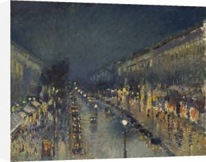 The Boulevard Montmartre at Night by Camille Pissarro
