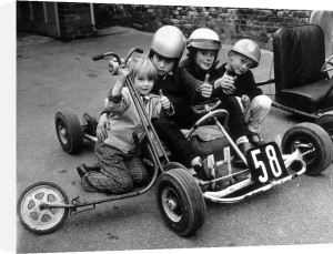 Children with scooter and go-cart, 1960's by Mirrorpix
