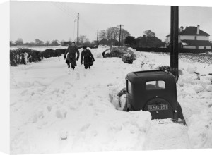 Road blocked by snow, Kent 1952 by Mirrorpix