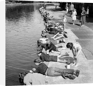 Children fishing in Victoria Park, London 1953 by Mirrorpix