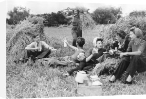 Farm holiday picnic, 1945 by Mirrorpix