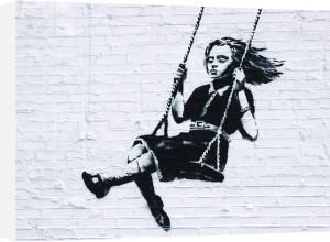 Girl on a Swing by Street Art