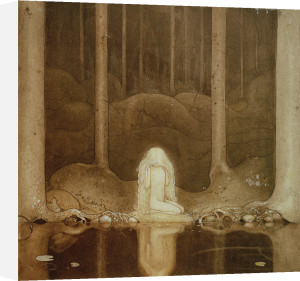 Princess Tuvstarr looking at the dark waters of the mountain lake in the woods 1913 by John Bauer