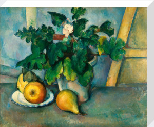 Pot of Primroses and Fruit by Paul Cezanne