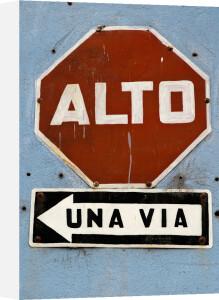 Road sign, Antigua, Guatemala by Sergio Pitamitz