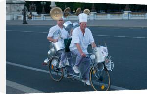 Chefs playing percussion on a bicycle, Fete de la Musique, Paris, France by Sergio Pitamitz
