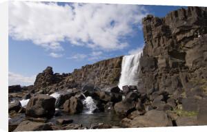 Oxararfoss waterfall on Mid-Atlantic Rift, Thingvellir National Park, Iceland by Sergio Pitamitz