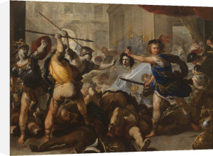 Perseus turning Phineas and his Followers to Stone by Luca Giordano