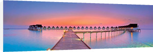 Maldives Bungalows Sunset by Totophotos