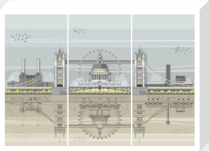 London Landmarks Triptych by Linescapes