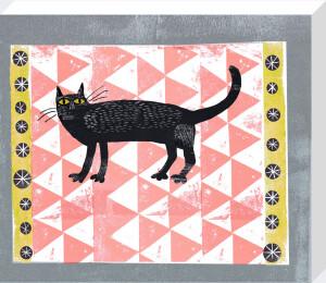 Mr Black Pink Rug Cat by Madeleine McClellan