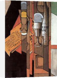 Glasses, Newspaper, and Bottle of Wine by Juan Gris
