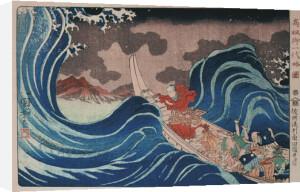 Nichiren Calms a Storm in Kakuda by Utagawa Kuniyoshi