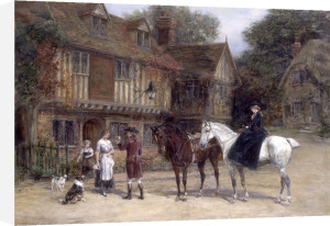 Outside the George and Dragon by Heywood Hardy