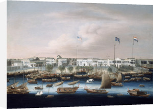 The Waterfront at Canton with the American, British and French Factories by Chinese School