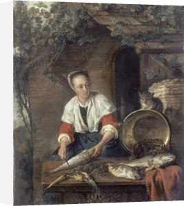 A Maid Cleaning Fish Outside a House by Gabriel Metsu