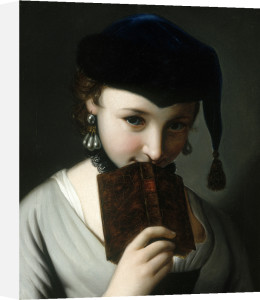 A Young Woman in a Russian Hat, Holding a Book by Pietro Antonio Rotari