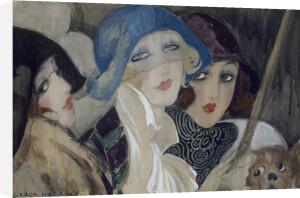 Three Young Women in Hats, 1920's by Gerda Wegener