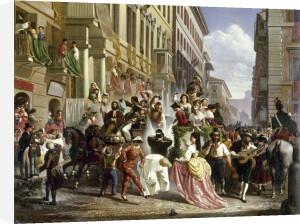 Carnival on the Piazza Colonna by Carl Max Gerlach Quaedvlieg