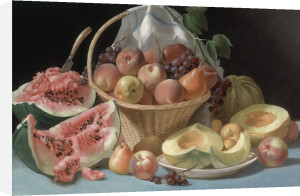 Still Life with Melons, Peaches and Grapes by John F. Francis