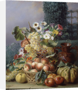 Still Life of Flowers and Fruits, 1864 by Eugene-Adolphe Chevalier