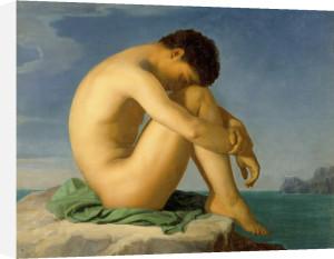 Jeune Homme Nu Assis sur un Rocher by Jean-Hippolyte Flandrin