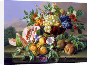 A Still Life of Grapes, Water Melon, Plums and Peaches by Anton Hartinger
