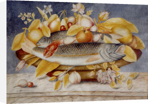 Still Life of Fruit and Flowers with Two Fish by Octavianus Monfort