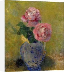 Vase de Roses sur Fond Vert by Odilon Redon