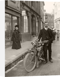 Hugh Gibson with Bradbury motorcycle c.1910 by Anonymous