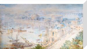 Bird's-eye view of [John Soane's] design for a Triumphal Bridge by Joseph Michael Gandy