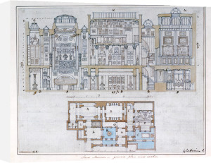 Cross-section through and plan of Sir John Soane's Museum, 1827 by Anonymous