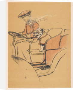 Woman and bulldog in open car, 1905 by Cecil Aldin