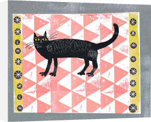 Mr Black Pink Rug Cat by Madeleine McClellan