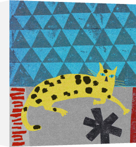 Spotty Cat on Teal by Madeleine McClellan