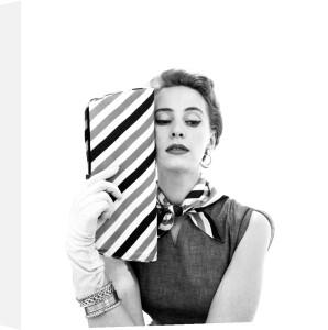 Printed rayon poult handbag by John French
