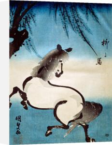 Horse and willow by Utagawa Kunisada