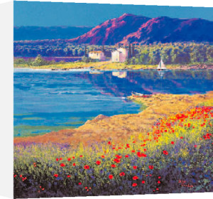 Poppies and Cypress Trees by Arthur Claridge