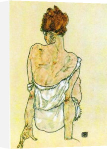 Seated Woman, Rear View by Egon Schiele