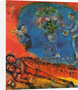 Couple of Lovers on a Red Background by Marc Chagall